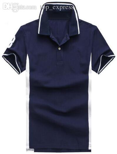 Express Summer Men Solid Polos With Big Pony Cotton Number 3 Golf Polo Shirts Navy Blue Red Gray Size M-2XL
