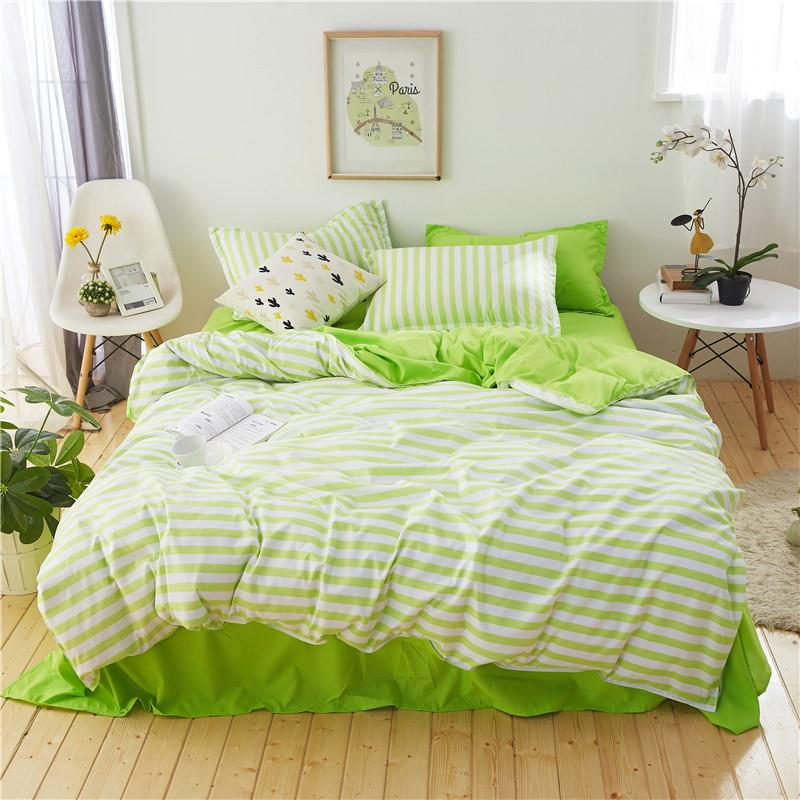 Green White Stripe Bedding Set Pillowcase Bed Sheet Set Good Quality