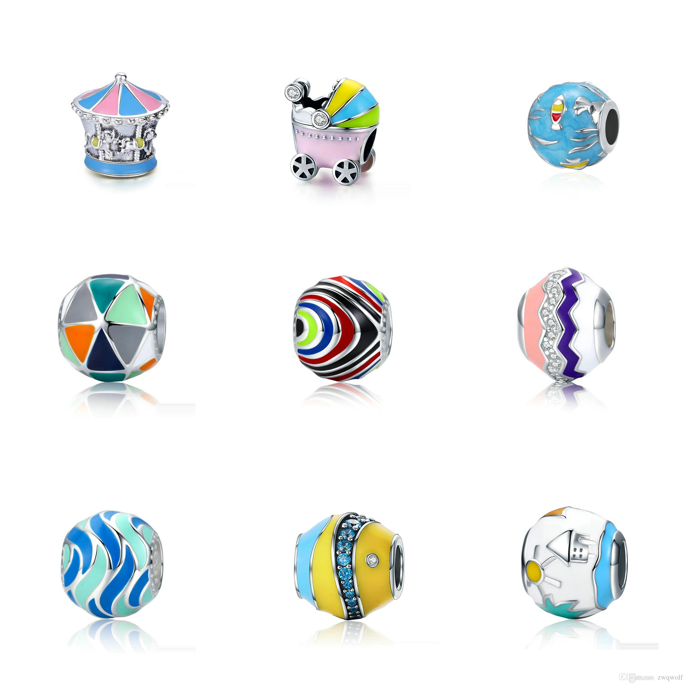 Authentic 100% 925 Sterling Silver Bead Charm Beads With Glaze Fit Pandora Women Bracelet & Bangle DIY Jewelry Making