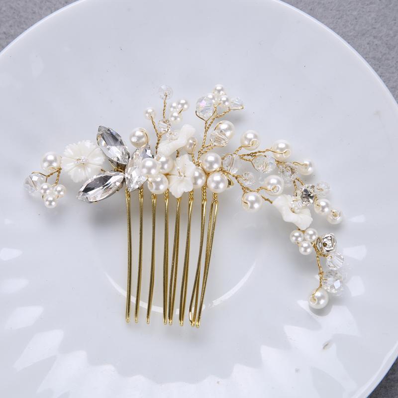 Grosshandel Goldene Kristall Shell Blumen Perle Haare Kamme Fur