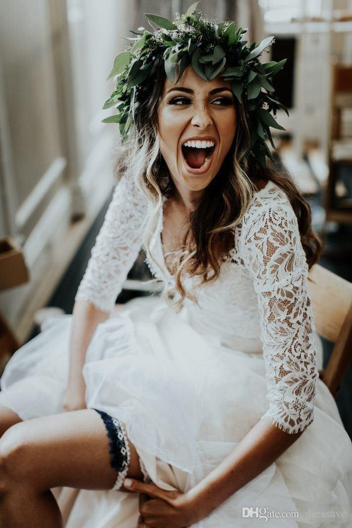 Deux pièces de plage robes de mariée pays 2018 en mousseline de soie volants dentelle Top Boho à manches longues une ligne sur mesure robe de mariée bohème
