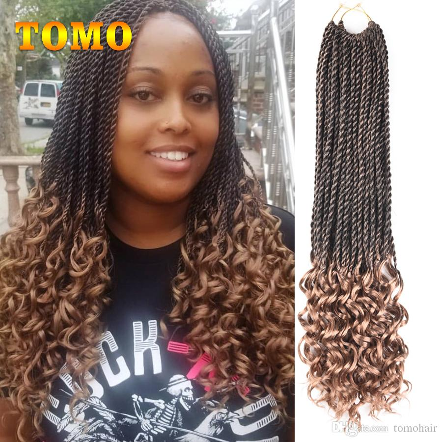 18inch Curly Senegalese Twist Crochet Braids Kanekalon Synthetic Curly End Ombre Braiding Hair Extensions For Black Woman 30 Strands Pack