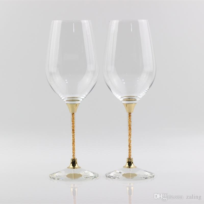 Lead Free Crystal Wedding Glasses Gold Color Stemware Toasting Wine Glass Anniversary Gifts Party Celebration Drinking Glass Cup Wine Glasses Cheap Wine