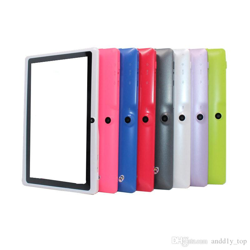 Q88 7 inch tablet PC A33 Quad Core Allwinner Android 4.4 KitKat Capacitive 512MB RAM 4GB ROM WIFI Dual Camera Flashlight