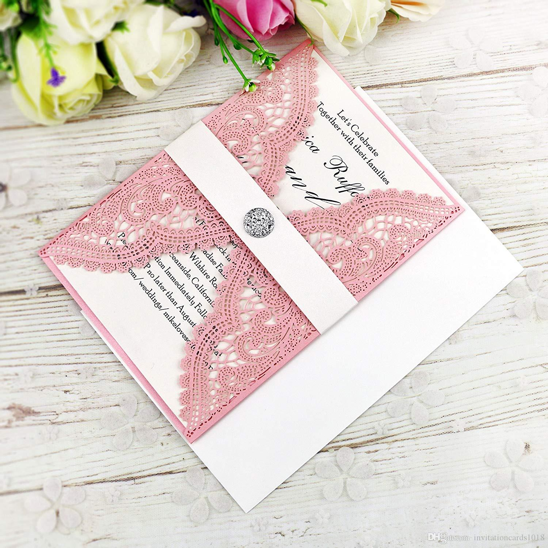 Grosshandel Heisser Verkauf Laser Cut Rosa Einladungskarten Mit