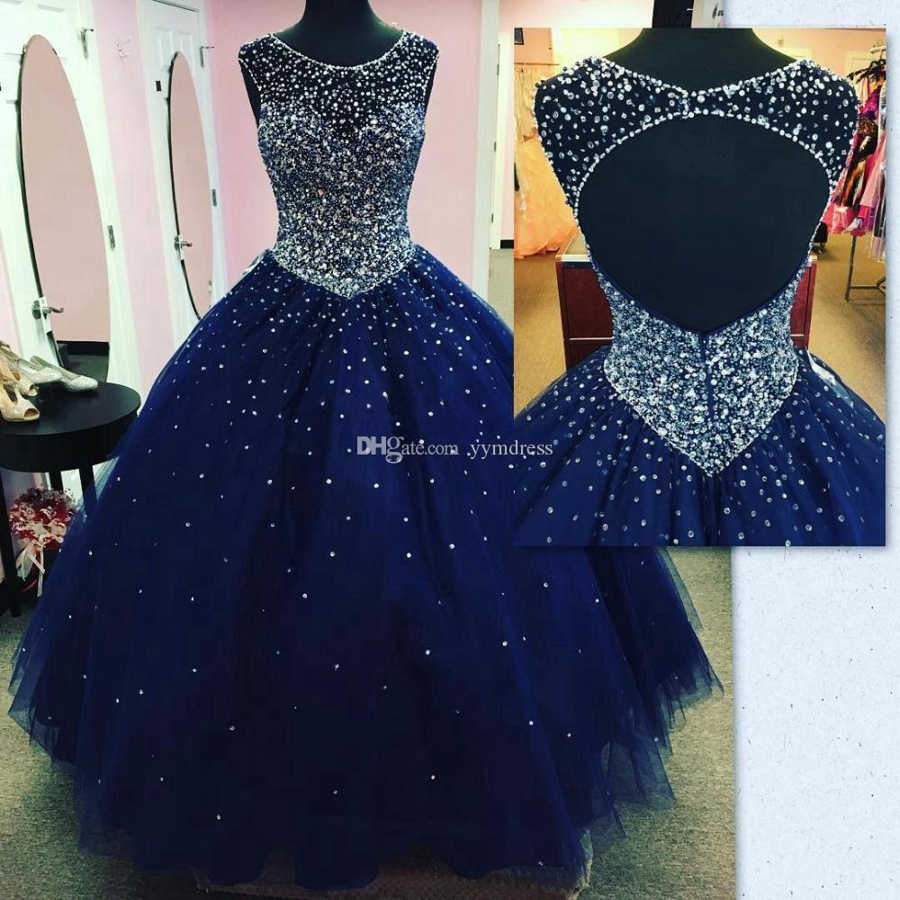 Navy Blue Prom Dresses Evening Wear Full Beaded Crystals Top Pageant Gowns 2019 Modest Fashion Keyhole Sexy Occasion Quinceanera Dress