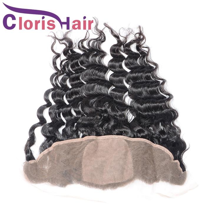 Unprocessed Silk Base Lace Frontal Closure Brazilian Deep Curly Wave 13x4 Silk Top Ear To Ear Full Lace Frontals Brazillian Hair Pieces