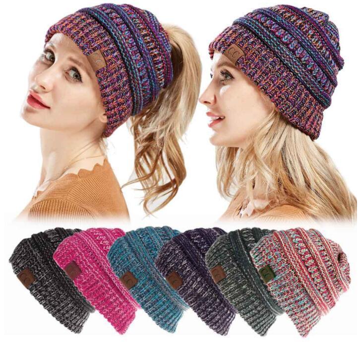 3f74d32a04b Fashion Cc Ponytail Beanies Hat Women Crochet Knit Cap Autumn Winter  Skullies Beanies Warm Caps Knitted Hats For Ladies Kka5583 Sun Hats Sun Hat  From ...