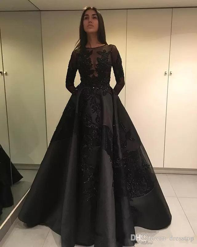 ec841f4275cb Zuhair Murad 2018 Long Sleeve Black Prom Dresses Lace Applique Beads Plus  Size Formal Evening Gowns Special Occasion Wear Custom Party Dres Gothic  Prom ...
