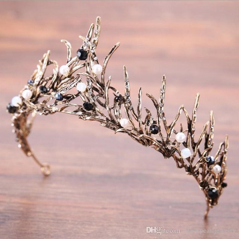 8 couleurs élégantes beaux mariages de mariée de mariée d'argent et couronnes femmes perles mariée diaras coiffure cheveux ornements