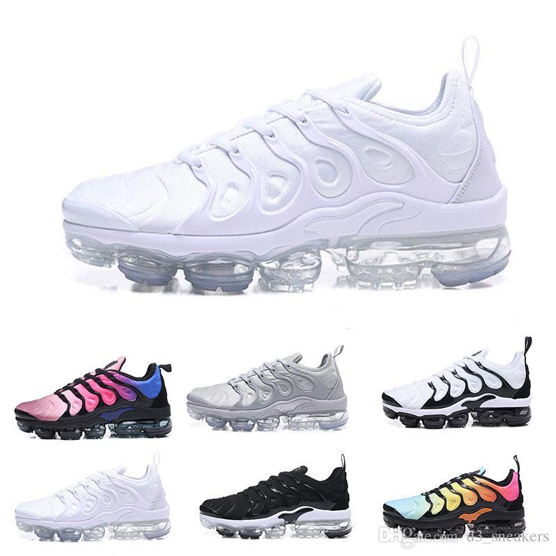 Nike Air Max Tn plus 2018 más nuevo Vapormax TN Plus hombres zapatos para caminar al aire libre Triple negro blanco metalizado plata Colorways Pack
