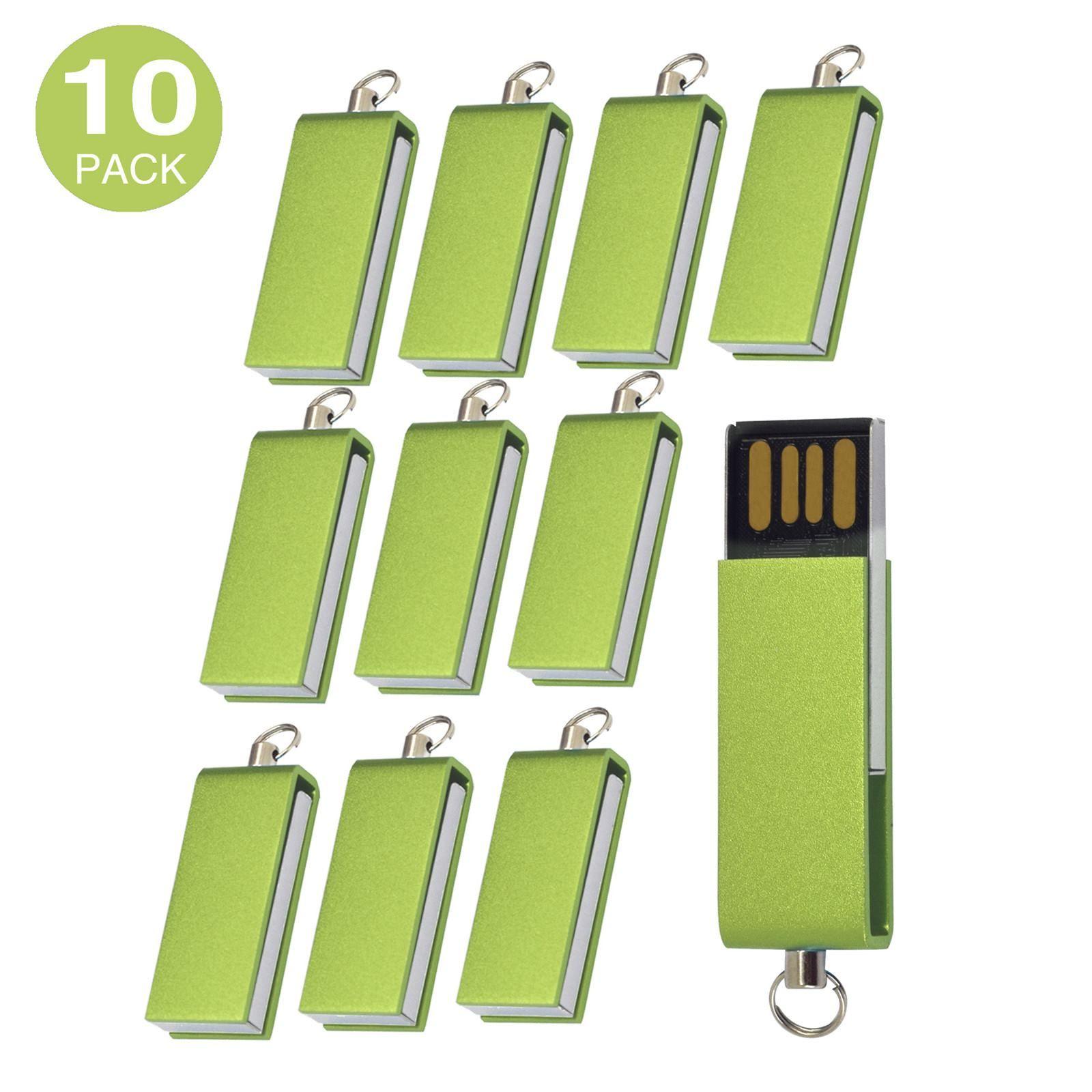 Colorful 10 Pack USB Flash Drives Rotating Thumb Pen Drive Memory Stick 1GB-16GB