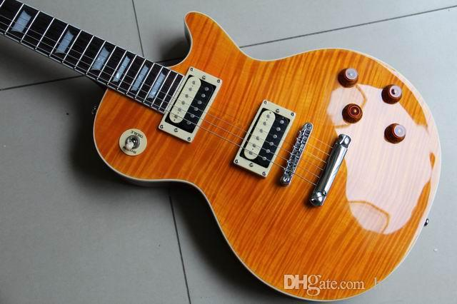 Freies Verschiffen! Hochwertige LP Slash Signature LP Gitarre, Tiger Flame Maple LP E-Gitarre, Solid Mahagoni Slash Guitaar, Gelb 110918