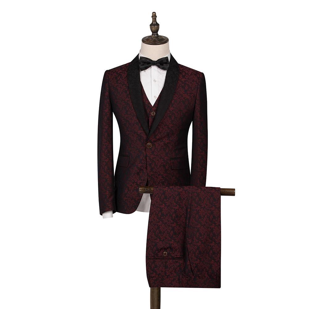 Compre FOLOBE Moda 3 UNIDS Borgoña Jacquard Hombres Trajes Para La Boda  Trajes Para Hombres Padrinos De Boda Traje De Negocios Formal Esmoquin  Casual Wear A ... 169c47408a1