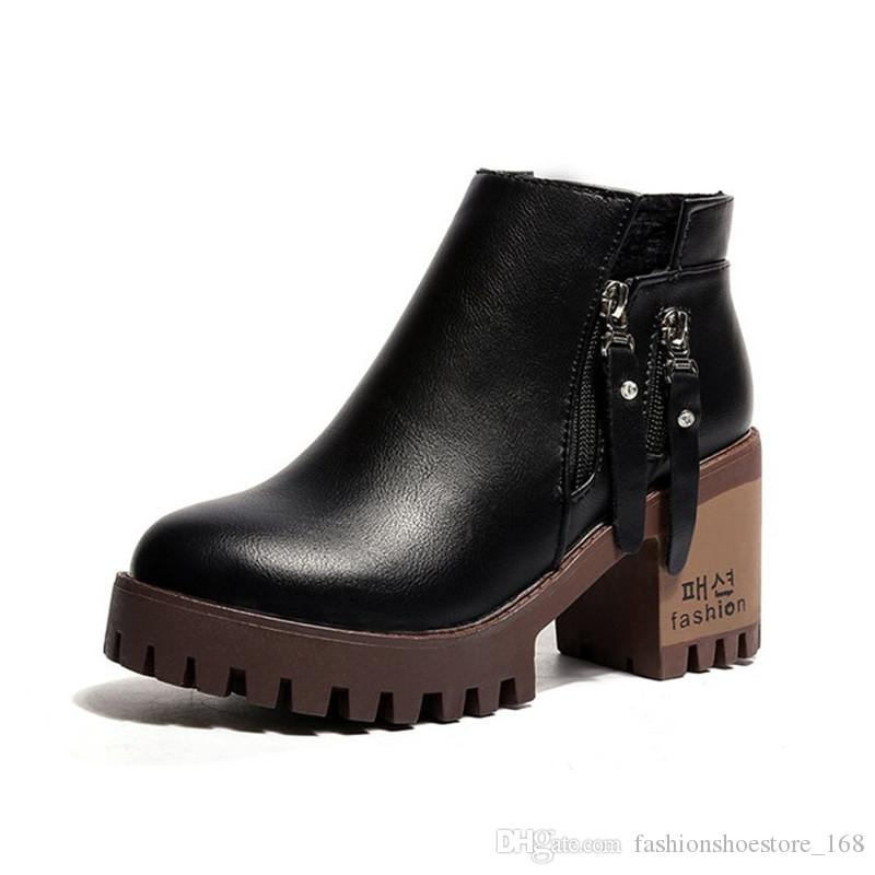 9f77927dcde4 женские ботильоны на платформе 2018 New Осенние кожаные ботинки женские  сапоги на ...