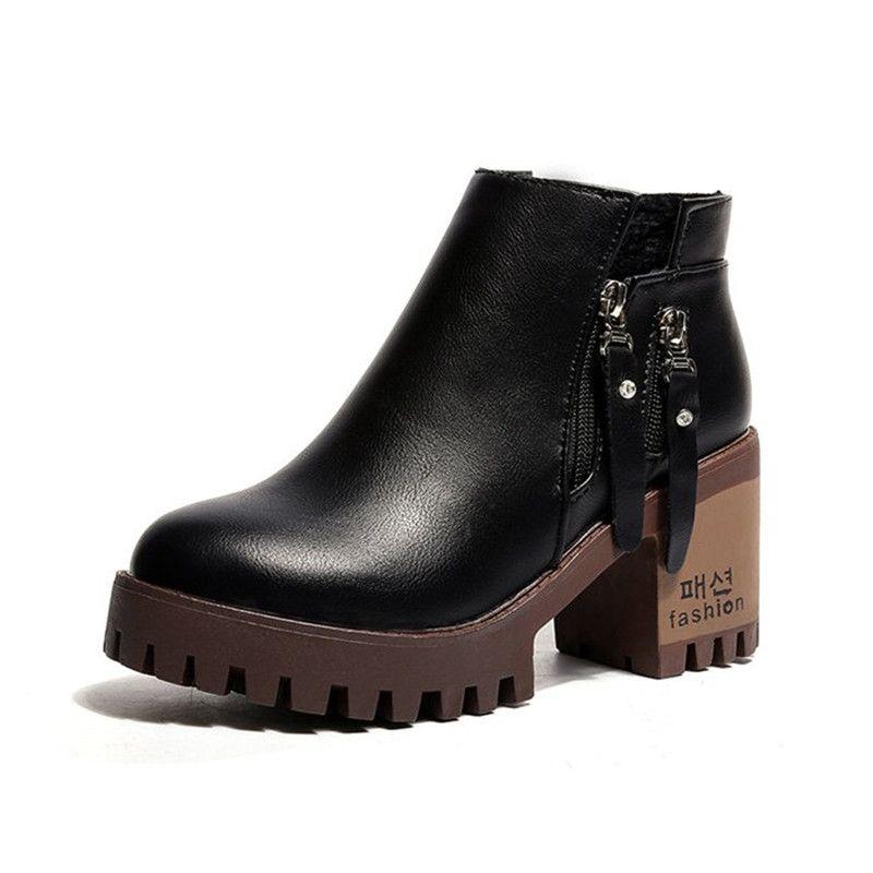 3a55c19a79b Women Platform Ankle Boots 2018 New Autumn Leather Boots Women ...