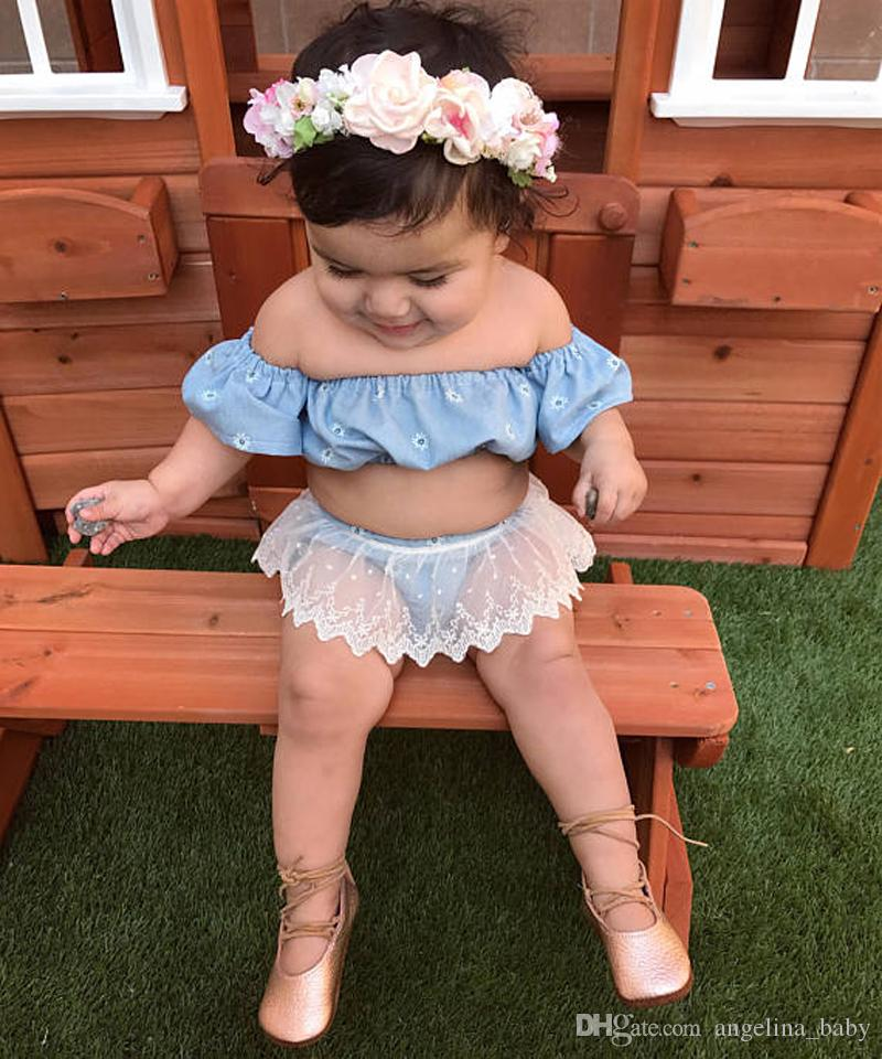 1a4c4321d8f7 2018 Baby Girls Summer Clothes Sets INS Casual Denim Crop Tops+Cute Floral  Printing Lace Shorts Kids Flying Sleeve Summer Outfits Z11 Girls Ins  Rainbow Suit ...