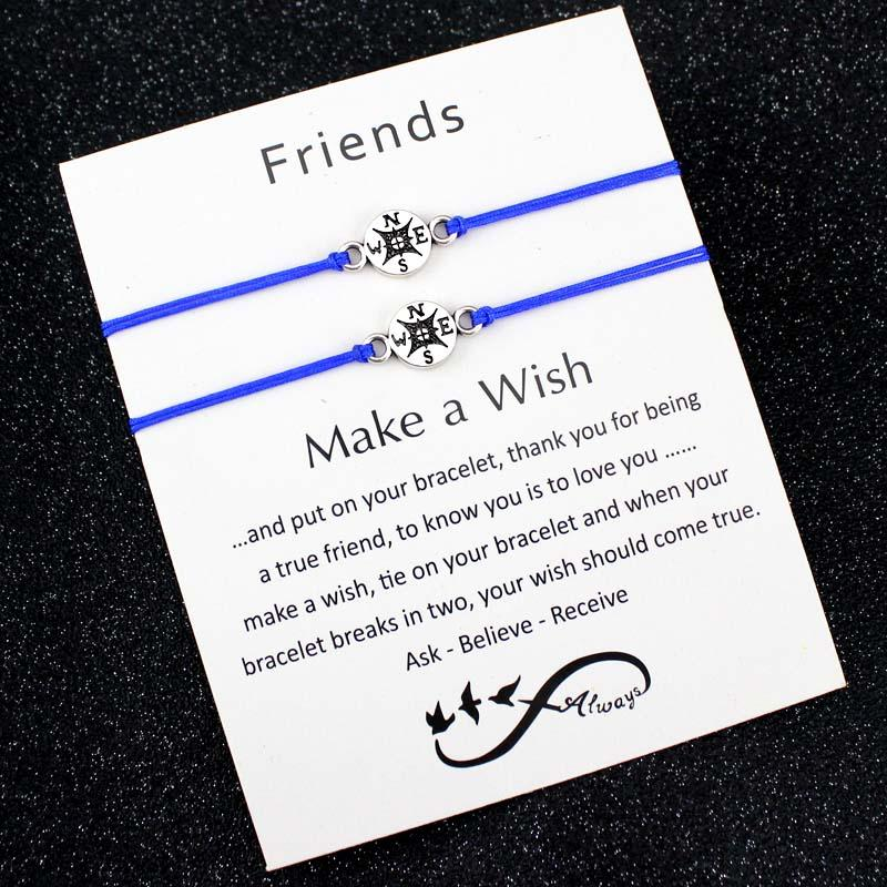 a93a2430e43d7 Make a Wish Dream Best Friends Thanksgiving Gift Grandma Granddaughters  Aunt Niece Mother Daughters Compass Bracelets for Women