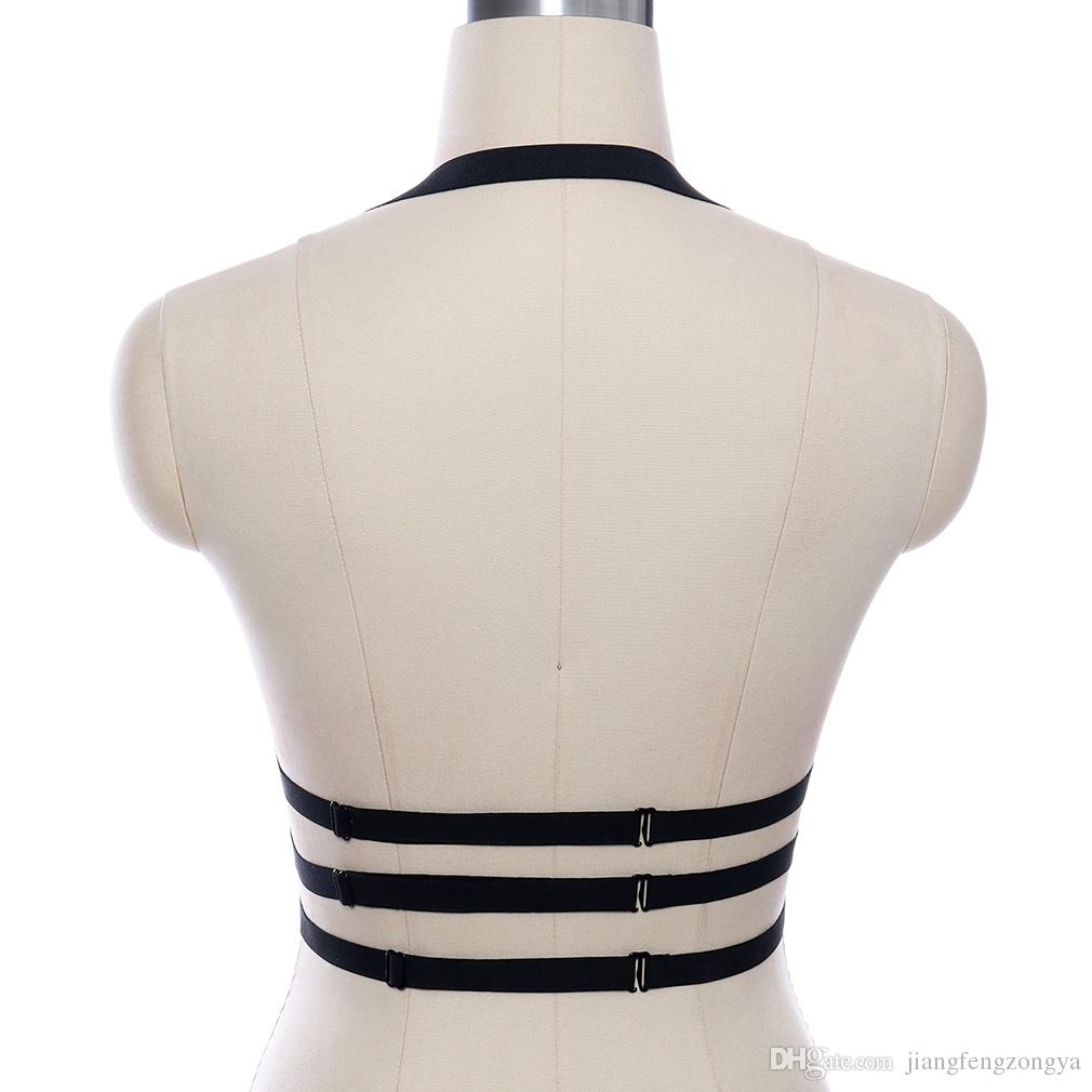Women Hollow Cage Top Bra Exotic Apparel Gothic Harajuku Sexy Lingerie Cosplay Bandage Prom Dress Body Belt Bras Black Harness
