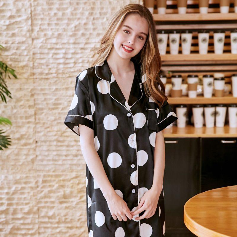 Luxury Summer Dotted Silk Sleeping Dress Boyfriend Style Shirt ... 0ed3aba9d