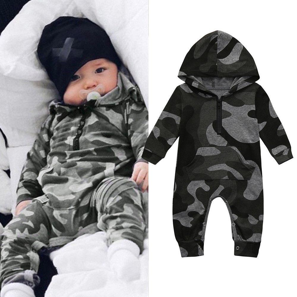 bf89395b124 2019 Newborn Infant Baby Boys Girls Romper Overall Camouflage Print Hooded  Jumpsuit Clothes Toddler Outfits Bodysuit From Formore