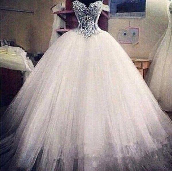 Abito da sposa in tulle principessa scintillante tulle gonna gonfio corsetto abito da sposa con perline tesoro robe de mariee bustier
