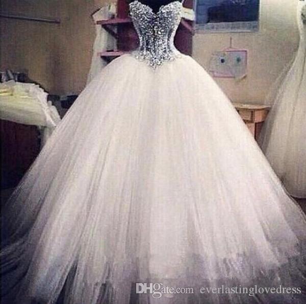 Tulle Robe de mariée Princesse Sparkly Tulle Puffy Jupe Corset Robe de Mariée chérie perles robe de mariée bustier