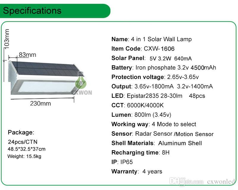 알루미늄 LED 태양 램프 모션 센서 48led 슈퍼 밝은 1000lm 4 모드 야외 정원 보안 방수 벽 조명