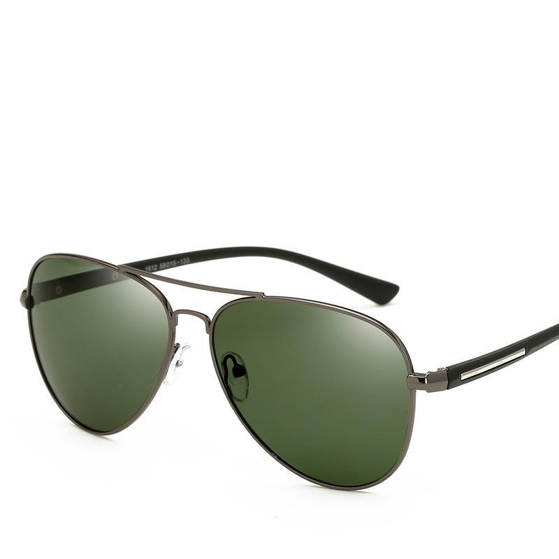 6073f7b054 Compre Cubojue Polarized Gafas De Sol De Los Hombres Lentes De Color Verde  Oscuro Gafas De Sol De Conducción De Aviación Para Hombre Bisagra De Resorte  HD ...
