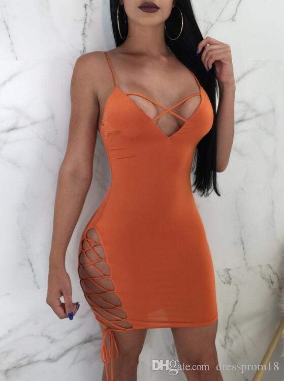 0f9799b0e2e Womens Sexy V Neck Cutout Lace Up Side Short Fitted Bodycon Club Dress  Spaghetti Straps Low Back Stretch Casual Dress Summer Dress Short Dresses  From ...