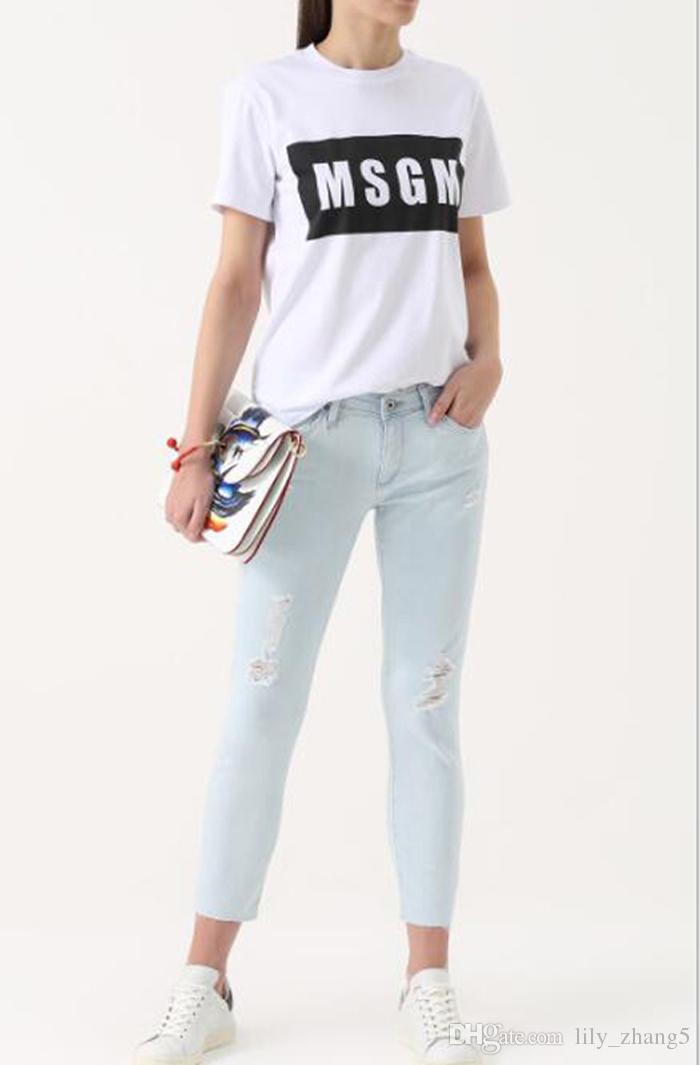 es Al por mayor-alta calidad de los hombres / mujeres MSGM camiseta Verano Pareja letra de la marca Tops impresos camiseta de algodón de manga corta O-cuello camiseta