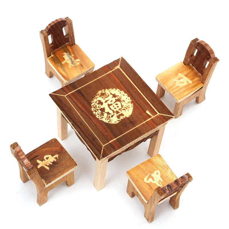 5pcsset Vintage Wooden Table Chair Set For Dolls House Furniture Miniature Room Set Kids Mini Toys Gift Sets For Kids Children