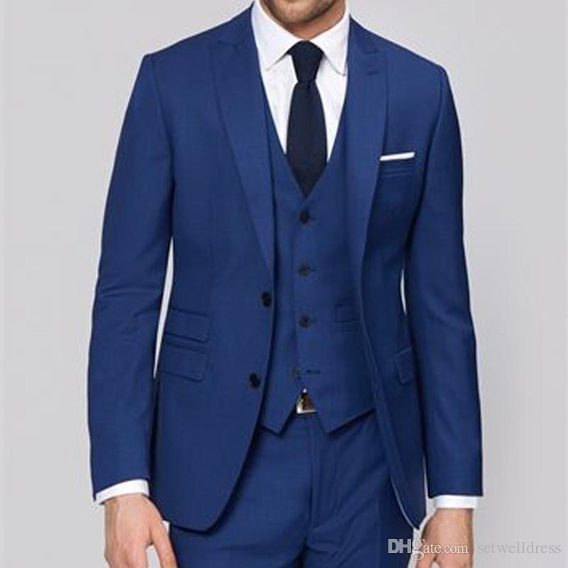Custom Made Royal Blue Men Business Party Suits Groom Wear Peaked Lapel Three Piece Wedding Suits Cheap Groomsmen Tuxedo Jacket+Pants+Vest