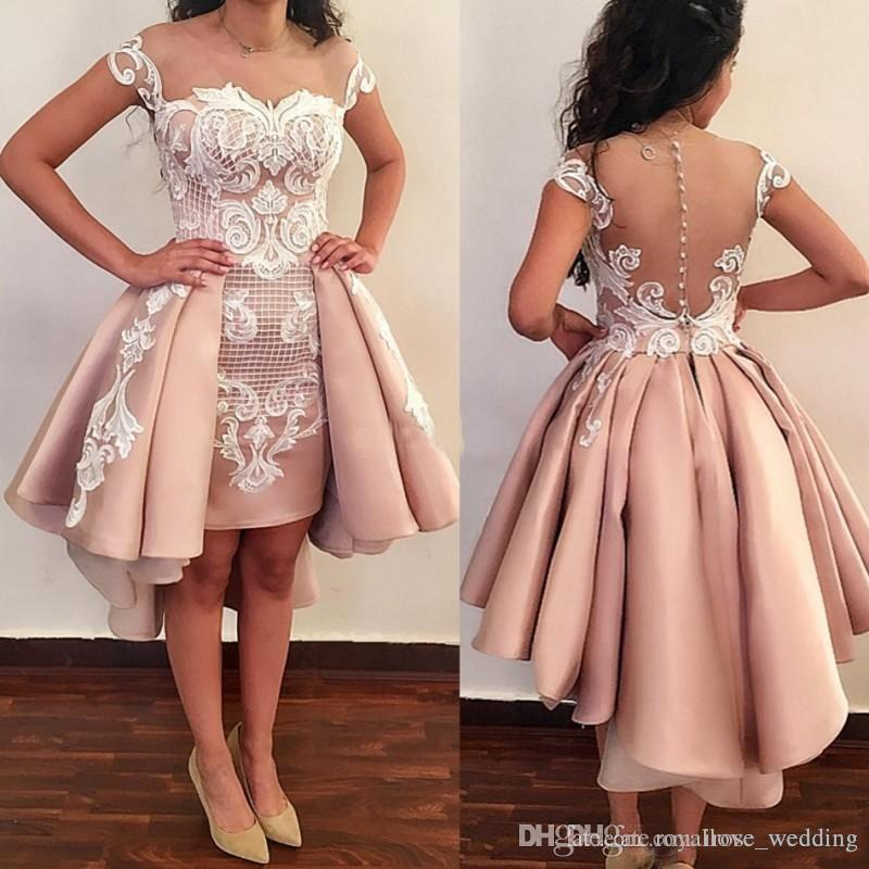 1481aad6 Blush Pink Prom Dresses High Low Lace Appliqued Sheer Neck Sheath Dress  Evening Wear With Detachable Train 2018 New Formal Party Gowns Size 18 Prom  Dresses ...