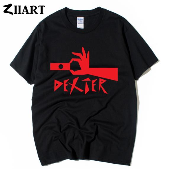 DEXTER print frosted glass hand Morgan Michael C Hall couple clothes man boys male o-neck plus size short-sleeve T-shirt
