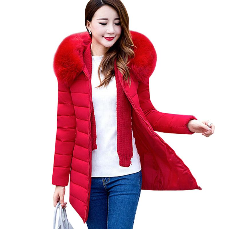 0190a829e5b 2018 Plus Size XL 7XL Parkas Jacket Women Winter Coats Medium Long Fur  Collar Thick Solid Hooded Down Cotton Padded Warm Coats S18101503 UK 2019  From ...