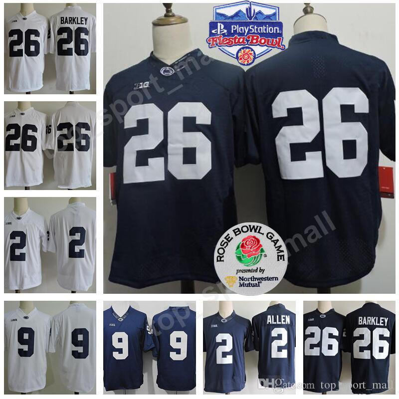 Penn State Nittany Lions 26 Saquon Barkley Jersey College Football 9 Trace  McSorley 1 Joe Paterno 22 Akeel Lynch Fiesta And Rose Bowl Patch UK 2019  From ... dd95472eb