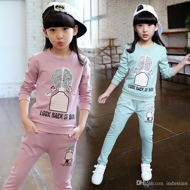f85c15b7ec132 Tracksuit for Girls 2018 New Cartoon Girls Sport Suits Spring Autumn  Children Clothing Sports Set Casual Kids Clothes