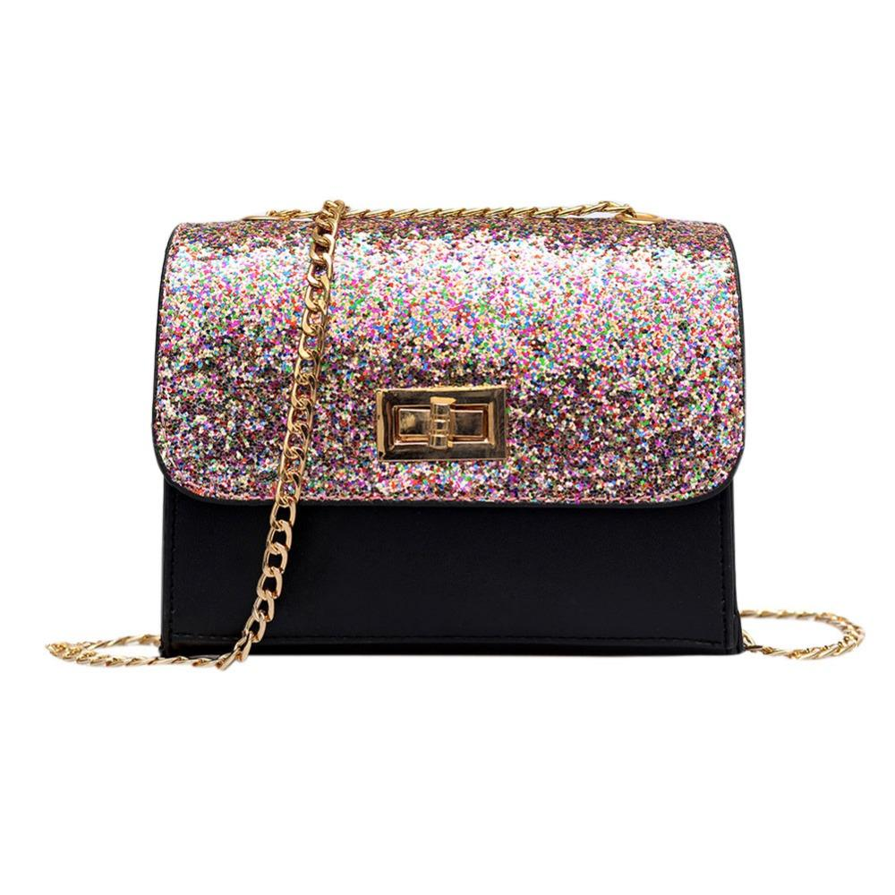 bd952e113bb55 Women Sequin Shoulder Bag Shiny Glitter Chain Bag Pu Leather Flap Party  Crossbody Fashion Handbag Women Pink/Black