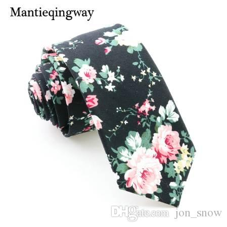 8b095be0c434 Mantieqingway Floral Ties For Men Skinny Mens Ties Gravatas Slim Corbatas  Vestidos Wedding Cotton Groom Neck Tie Cravat Necktie Custom Ties Pink Ties  From ...
