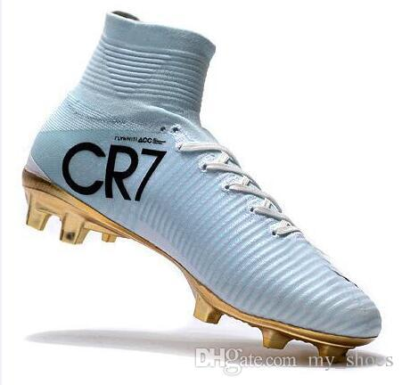huge selection of 22c1e 94d21 2018 Cheacp White Gold CR7 Cleats Soccer Mercurial Superfly FG V Kids  Soccer Shoes Cristiano Ronaldo