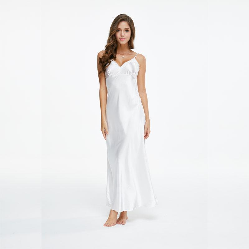 af7d5149f9 2019 Lace Nightgowns V Neck Sleepdress White Ankle High Nightwear Women  Spaghetti Strap Nightdress Long Sleepwears For Female SLA501W From Caesarl