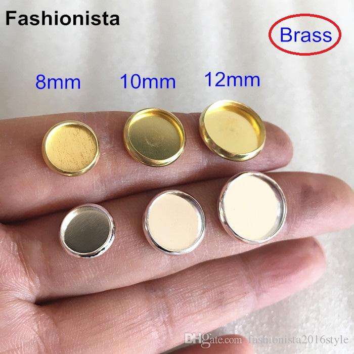 Brass Base Setting,Blank Bezel Match 8mm,10mm,12mm Cabochon Cameo,Brass Blank Tray With no loop,Raw Brass,Silver-color