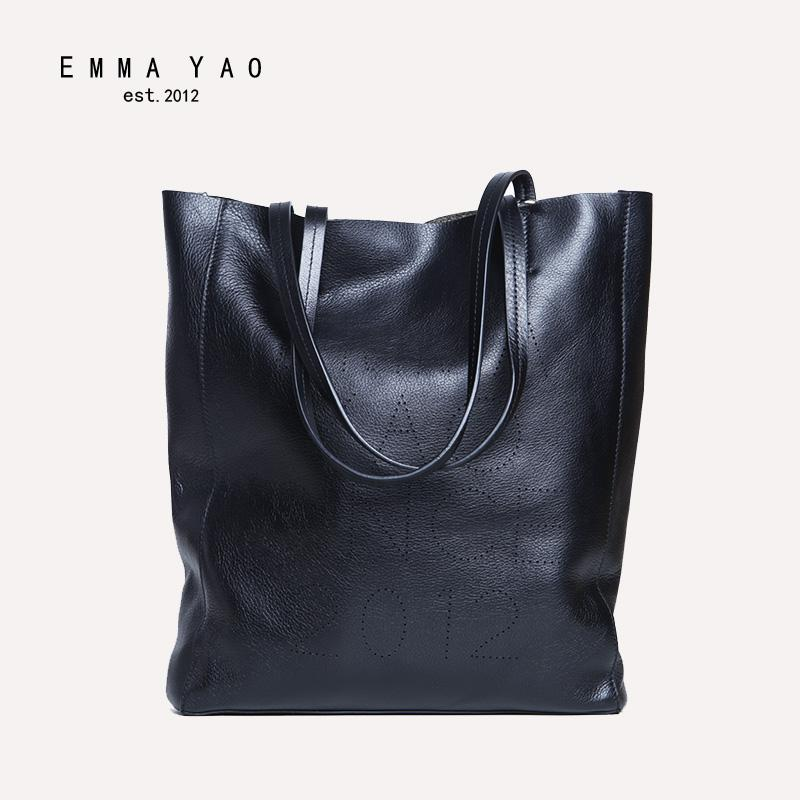 ddc23d77fd EMMA YAO Women S Cowhide Leather Tote Shopping Bag Genunie Leather Women S  Handbag Famous Brand Ladies Fashion Bag Leather Backpack Purse Handbags For  Sale ...