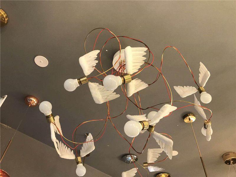 Acheter moderne blanc ailes d ange chandeliers bureau led lampe