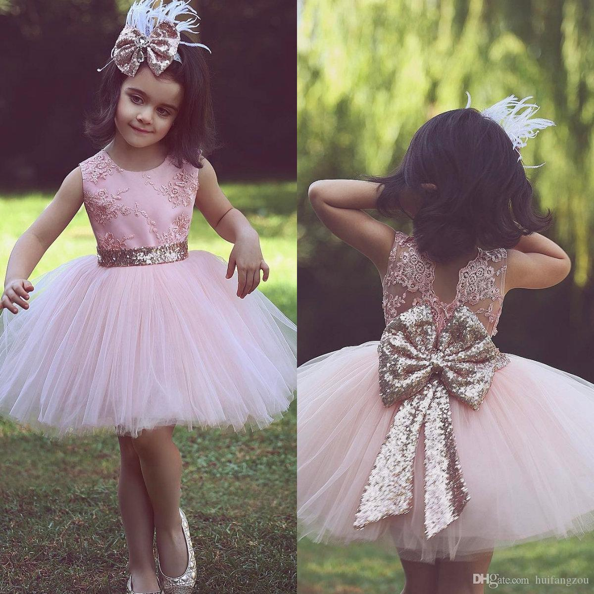 c72fad6d004 New Arrival Light Pink Flower Girl Dresses Jewel Neck Appliques Lace Back  Sequined Bow Design Girls Pageant Dress Ball Gowns Beautiful Little Girl  Dresses ...