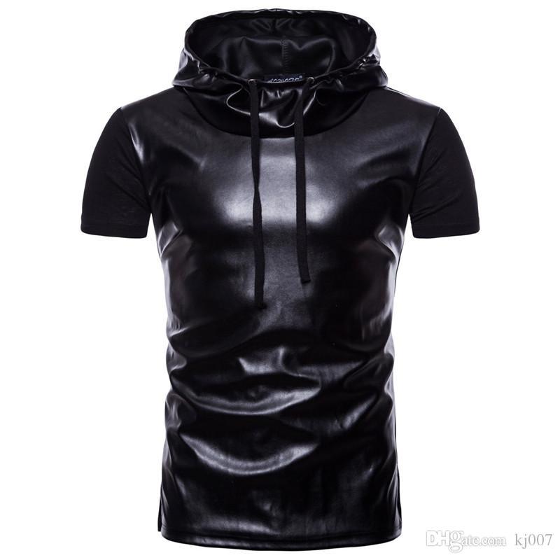 Балахон уличная мужская с короткими рукавами хип-хоп футболки панелями кожа футболка с капюшоном пуловеры повседневные рубашки лето мужская футболка топ рубашки