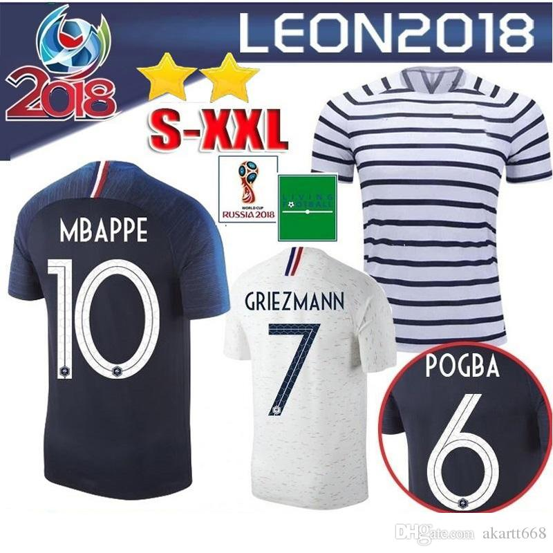 check out 9e6e4 4dfef 2 stars 2018 POGBA jersey GRIEZMANN KANTE Mbappe Football shirts 18 19 home  away soccer jerseys DEMBELE maillots de foot
