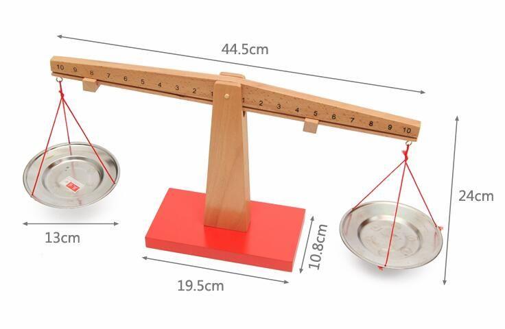 Montessori Wooden Balance Beam Weighing Scale Kindergarten Preschool Teaching Aid Math Toys