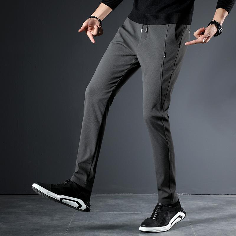 251338fe05 Acquista Pantaloni Classici Da Uomo Pantaloni Elastici In Vita Da Uomo  Tinta Unita Pantaloni Slim Fit Nero Darkgray Lightgray Maschio A $29.02 Dal  Benedica ...